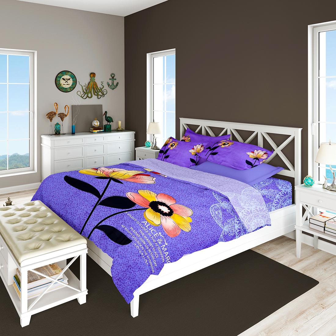 Adley Panel Print Double Bedsheet