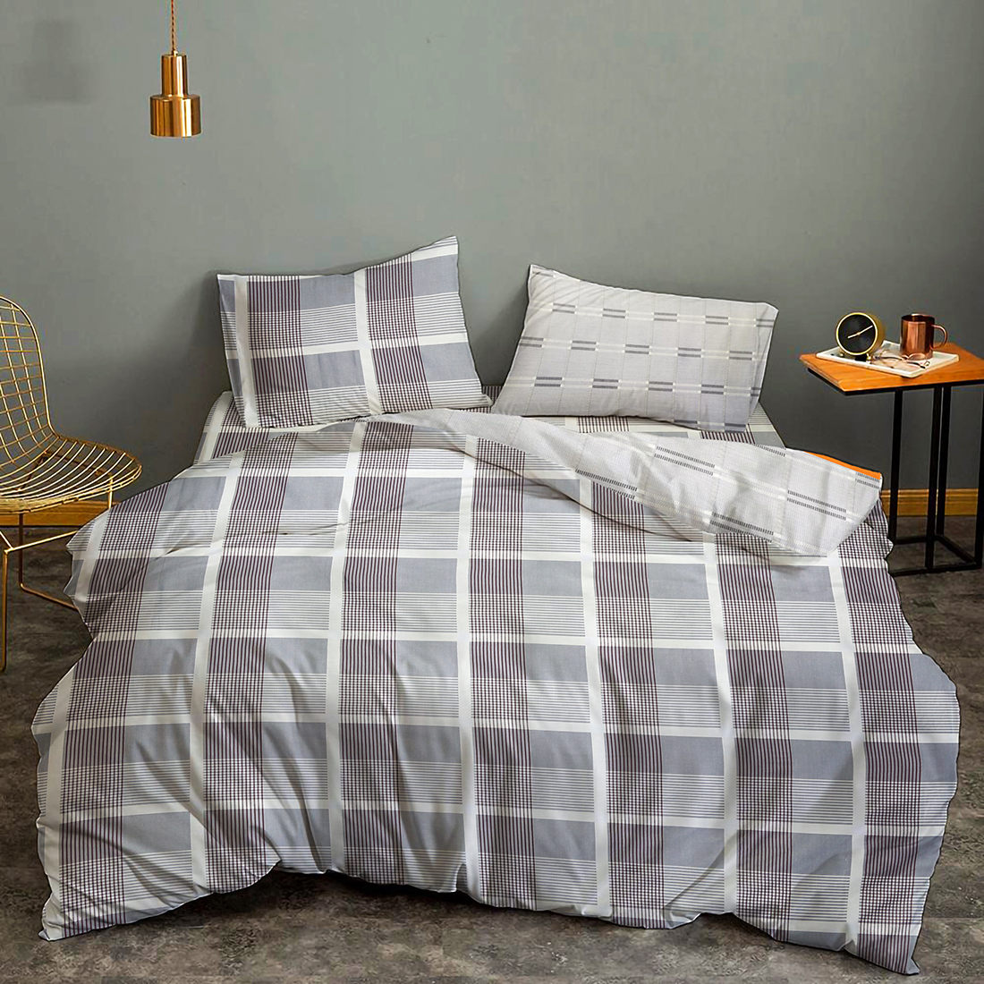 Myra Checks & Stripes 100% Cotton Double Bedsheet